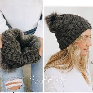 New Cozy Pom Pom Beanie Faux Sherpa lined Hat